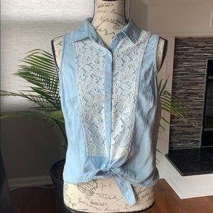 Charlotte Russe Jean and lace tank top
